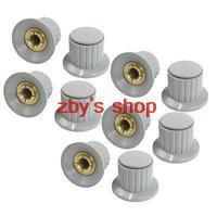 10pcs Volume Control 6mm Split Shaft Diameter Potentiometer Knobs Gray