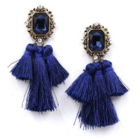 Good quality 2015 New statement earrings crystal rope tassel stud Earrings for party fashion earring women wholesale