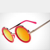 2015 New Retro Metal Round Brand Designer UV400 Protection Outdoor Goggles Drving Wayfarer Woman Sunglasses Oculos De Sol