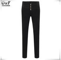 2015 Spring Elastic Mid Waist Skinny Cotton Trousers Fashion Women's Fashion Designer Street Black Buttons Slim Pencil Pant