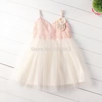 Free shipping sleeveless Princess lace flower ball gowns TUTU Wedding Dress Children's lace summer flower dress child clothing