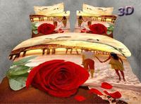 wedding bedding set red rose bedding 3d 100%cotton  bedspread egyptian oil painting/bed set/duvet cover set bed linen/