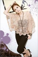 Women's loose shirt noble elegant knitted masklike flower perspective gauze shirt A11827
