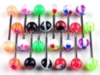 Wholesale 10/20/30/50Pcs Lots Piercing Jewelry Tongue Tounge Nipple Ear Rings Bars Barbell Body Jewelry Piercing