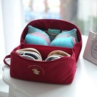 Free shipping BF050 Fashion Travel containing multifunctional zipper storage bag bra,underwear bag  13.5*13.5*26cm