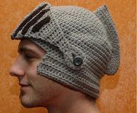 Roman knight helmet masks winter hat knitted hat wool hats for men women couple thick warm ear cap