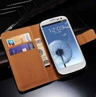 Genuine Leather Wallet With Stand Case for Samsung Galaxy S3 i9300 SIII Flip Style With Card Holder 2 Style