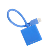Free shipping New blue USB 3.0 to VGA Multi-display Graphic Converter Adapter Cable 1920x1080 HD Win7/8