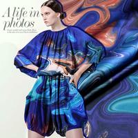 Oil Painting Starry Sky Digital Print Stretch Silk(93%) Satin Fabric  118CM*100CM   19Mommie