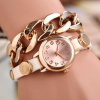 2015 Fashion New Men Women Causal Watches Leather Chain Strap Quartz Wristwatches High Quality Bracelet Watch Free Shipping