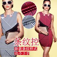Fashion Irregular Stripe Print Stretch Silk(93%) Satin Fabric 1Meter   19Mommie  3Colors
