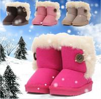 Children's Boots Winter Boy Girls Warm Winter Flat Snow Boots Rosered Pink Brown Beige 2014 Fashion Warm Shoes