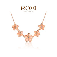 2015 ROXI Necklaces & pendants Beautiful flower pendant necklace women jewelry crystal necklace Christmas Gift fashion Jewelrys