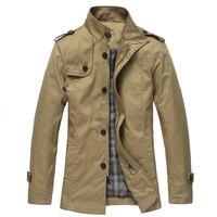 Hot Sale Cheap Men Casual Jackets Mandarin Collar Warm Male Jackets Coat Black/Beige/Khaki Abrigos Masculino Free Shipping W018