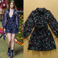 High Quality 2015 New Fashion Spring and Summer Printed literary stars spinning retro elegant dress