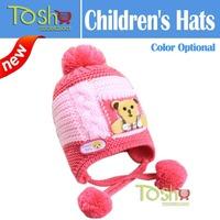 2014 New Baby Winter Hat Toddler Girls Boys Knitted Hat Cartoon Loverly Bear Crochet Beanies Hat Wool Knitting Cap Free Shipping