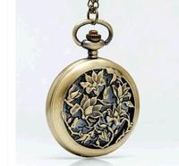 Antique Bronze Hollow out orchid pattern quartz pocket watches necklace big size 45mm Mens watch chain 10pcs/lot