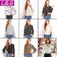 L&G Fashion 2015 Women Blouses Casual Print Chiffon Blouse Plus Size Blusas Roupas Femininas Shirt Cheap Clothes China 40184