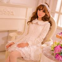 Princess sweet lolita dress Candy rain original winter new Japanese style lace lovely Wool collar lace princess dress CR07