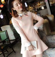 New 2014 Hot Europe Autumn Winter Women Dress Elegant Slim Thick Cotton Long Sleeve O Neck Natural Color Fashion Bottom Dress