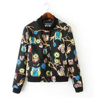 Women Owl Print Stand Collar Jacket Girl's Fashion Baseball Uniform Casual Spring Autumn Coat Outwear