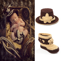 2015 Newborn Baby Crochet Photography Props Handmade Children Jazz cap and Shoes Set Toddler Costume 1Set free shipping