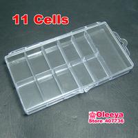 2pcs/lot 11 Grid 14.5x8x1.7cm Transparent Boxes Plastic Cosmetic Nail Art Pill Box Case Portable Storage Container O2596