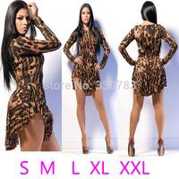 Aliexpress  High quality Irregular long-sleeved bandage sexy leopard dress sobretudo feminino disfraces evening party vestidos