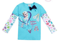 #1 Free shipping 1 piece  spring and autumn Frozen girl's cartoon printed cotton long sleeve T-shirt