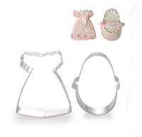 HOT!!! Baby sets cookie cutter metal Mousse tools stainless steel dress and shoes cutter for biscuit 2pcs/lot Free shipping