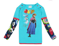 #3 Free shipping 1 piece  spring and autumn Frozen girl's cartoon printed cotton long sleeve T-shirt