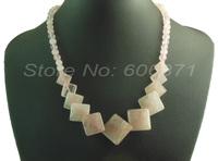 "18"" short Natural Rose quartz Pink semi-preicious stone square beaded generate necklace SDN10"