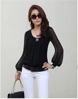Women's u long-sleeve T-shirt fresh all-match patchwork perspectivity chiffon sleeve A12180