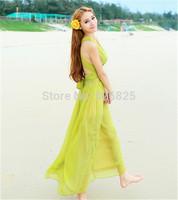 New 2014 Hot Europe Women Chiffon Long Dress Elegant Bohemian Backless Chalaza V Neck Sleeveless Natural Color Seaside Holiday