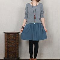 2014 Autumn New Art Women Casual Dress Loose Cotton Linen Patchwork Long Sleeve O-neck Dress Two Colors