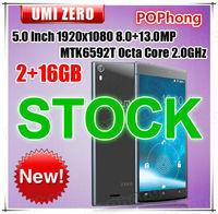 "Stock Original Umi Zero Mobile Phone 5.0"" 1920*1080 MTK6592T Octa Core 2.0Ghz 2G RAM 16G ROM Rear 13.0MP Dual Camera Dual Sim"