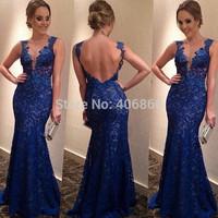 New women blue long lace dress backless party dress vestido de festa