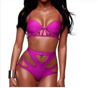 2015 Women Push Up Bikini set Symmetrical Cut Out High Waist Swimwear Neon Swimsuit bathing suit Hollow Out biquini