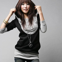 Women's  fashion girl color layered-look with a hood long design t-shirt 2011 long-sleeve T-shirt A9922