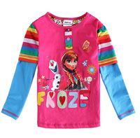 Free shipping 1 piece  spring and autumn girls FROZEN long sleeve cotton T-shirt
