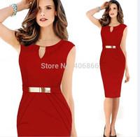 New 2015 European and American sexy Slim knee-length O-neck Sleeveless Elegant Pencil Dress