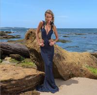Fashionable Sexy Deep V-neck Slim Hips Plus Size Prom Dresses 2015 Open Back Long Train Women Summer Beach Dress Vestidos Cheap