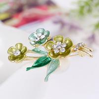 Min order is $10(mix order)Hot Sell Fashion New Gold Enamel Flower Brooch Women Elegant Rhinestone Bouquet Wedding Brooch