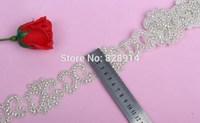 New Design Hot Selling Luxury 5.0cm Width Flower Design Wedding Dress Sash Rhinestones Trim Cake Trim With Glass Stone