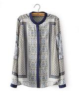 2015 Spring New Fashion Women's Stand Collar Positioning Temperament Retro Print Long Sleeve Shirt 1763