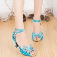 Customized Heels Women's Satin Upper Ankle Strap Ballroom / Latin Blue Dance Shoes With Rhinestone JYG843