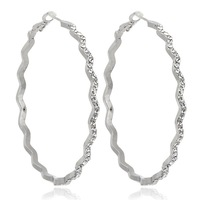 """2015 New Arrival Womens Girls Jewelry Gift Full Pave Cluster Clear Crystal 18K White Gold Plated Large Round Hoop Earrings 2.36"""""""