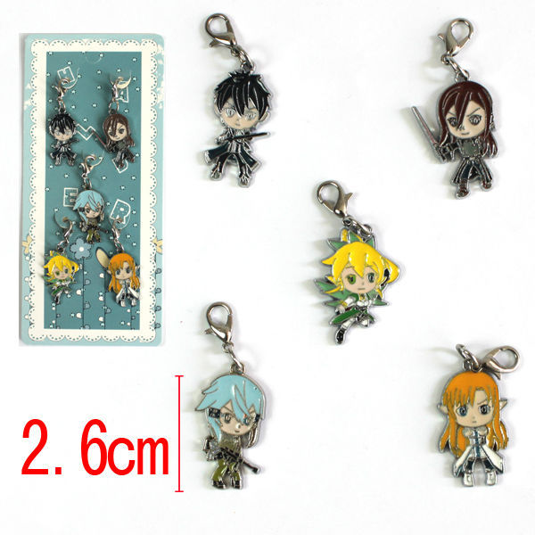 2015 new gift toys Pop Charms Sword Art Online protagonists Japan anime Alloy Pendant Lobster Clasp 5pcs/set rhodium claw clasp(China (Mainland))