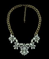 European Style Bronze Gem Tone Alloy Brand Clear Rhinestone Drop Crystal Choker Necklace Luxury Brand