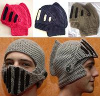 Novelty Hat Winter Men&Women Wool Knitted Roman Knight Hat With Masks Unisex Beanies KK038